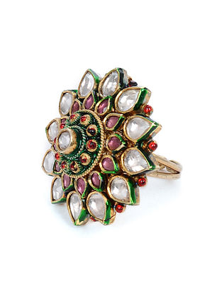 Multicolored Gold Tone Kundan Adjustable Ring
