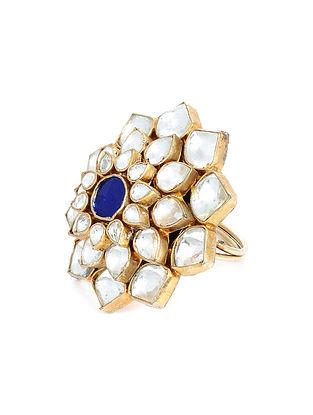 Blue Gold Plated Kundan Adjustable Ring