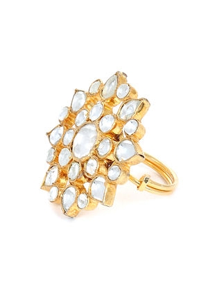 Gold Plated Kundan Adjustable Ring