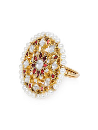 Red Gold Plated Kundan Adjustable Ring with Pearls