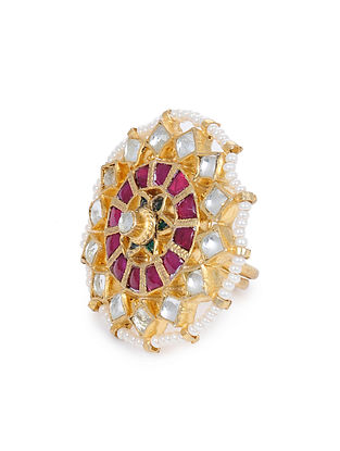 Green Pink Gold Plated Kundan Adjustable Ring with Pearls