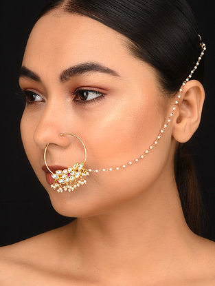 Gold Plated Kundan Nath with Pearls