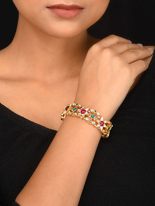 Green Pink Gold Plated Kundan Bracelet with Pearls