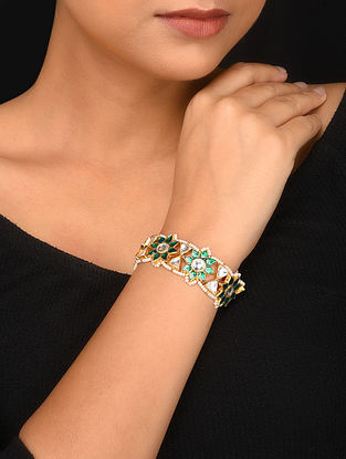 Green Gold Plated Kundan Bracelet with Pearls