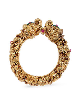 Green Pink Gold Plated Handcrafted Bangle (Bangle Size: 2)