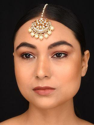 Gold Plated Kundan Maang Tikka with Pearls