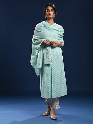 MANDAVI - Blue Cotton Dupatta with Gota