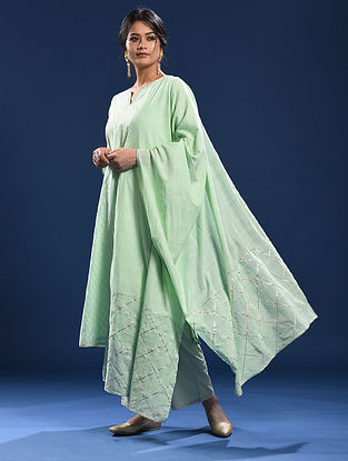 ANJUNA - Green Cotton Dupatta with Gota