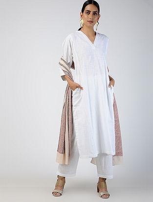 White Cotton Slub Kurta with Pockets