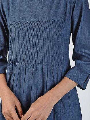 Blue Cotton Slub Kurta with Pockets