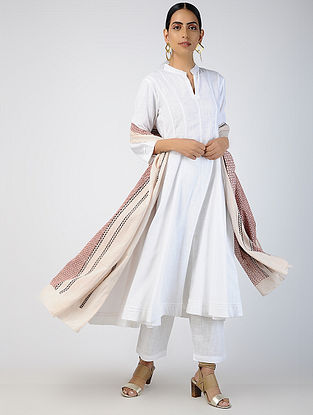 White Cotton Slub Kalidar Kurta