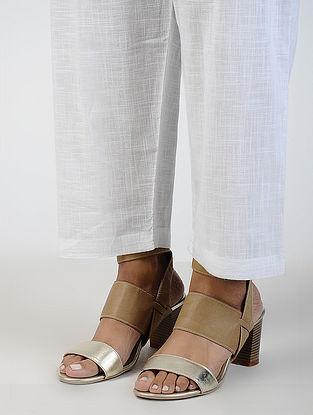 White Tie-up Waist Cotton Slub Pants