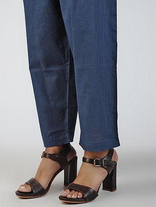 Blue Tie-up Waist Cotton Slub Pants