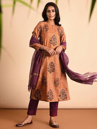 Orange Block Printed Mulberry Silk Kurta with Khari