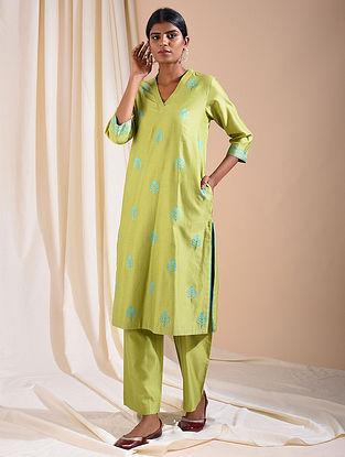 Green Silk Cotton Kurta with Aari Embroidery