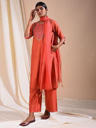Rust Silk Cotton Kurta with Aari Embroidery