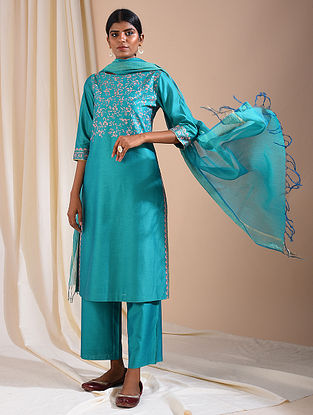Teal Silk Cotton Kurta with Aari Embroidery
