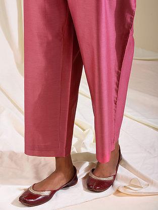 Pink Elasticated Waist Silk Cotton Palazzos