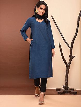 ADAYA - Blue Cotton Kurta with Pockets