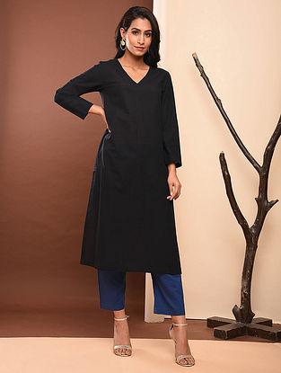 GAURANGI - Black Cotton Kurta with Pockets