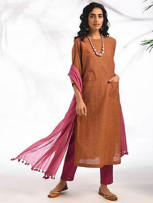 DILKASH - Rust Cotton Kurta with Pockets