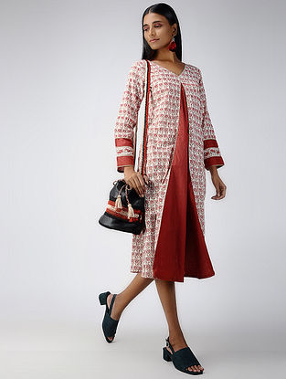 Ivory-Red Block-printed Cotton Dress