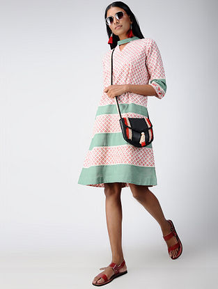 Red-Green Block-printed Cotton Dress
