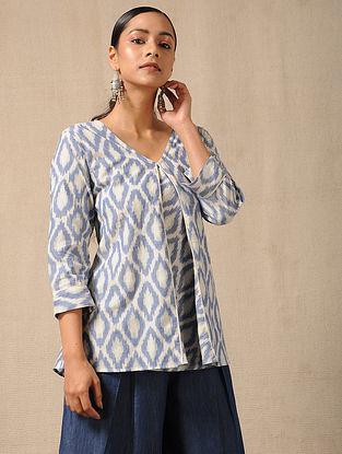 Ivory-Blue Handloom Ikat Cotton Top