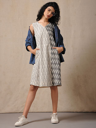 Ivory-Black Handloom Ikat Cotton Dress with Pockets