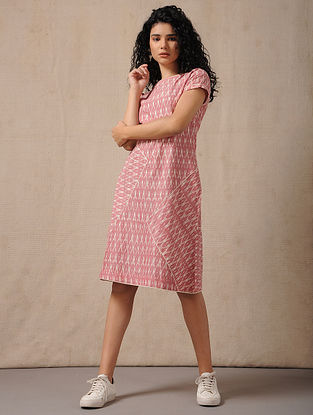 Ivory-Red Handloom Ikat Cotton Dress with Pockets