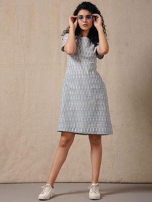 Ivory-Blue Handloom Ikat Cotton Dress with Pockets