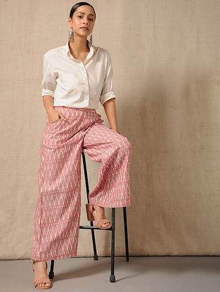 Ivory-Red Elasticated-waist Ikat Cotton Palazzo