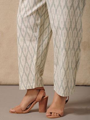 Ivory-Green Tie-Up waist Handloom Ikat Cotton Pants