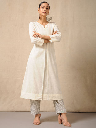 Ivory-Grey Tie-Up waist Handloom Ikat Cotton Pants