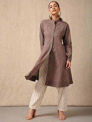 Ivory-Red Tie-Up waist Handloom Ikat Cotton Pants