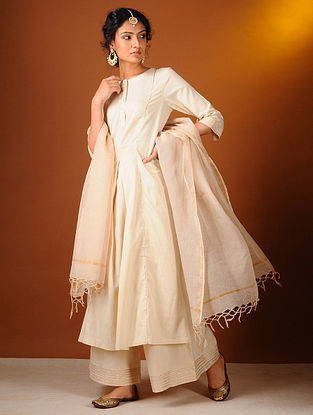 Ivory Cotton Kurta with Gota