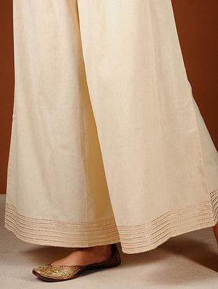 Ivory Elasticated-waist Palazzos with Gota