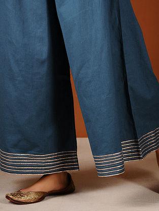 Blue Elasticated-waist Palazzos with Gota