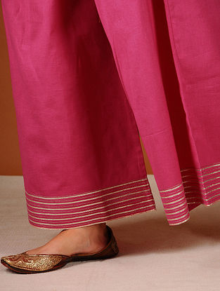 Pink Elasticated-waist Palazzos with Gota