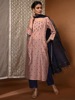 Pink-Blue Khari Block-Printed Chanderi Kurta with Pockets