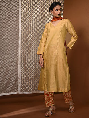 Yellow Chanderi Kurta with Pintucks