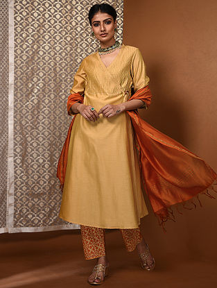Yellow Chanderi Angrakha with Pintucks
