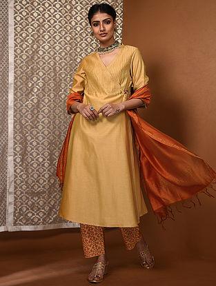 Yellow Chanderi Angrakha with Pintucks