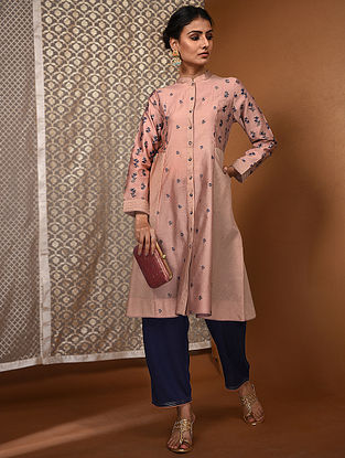 Pink-Blue Khari Block-Printed Chanderi Kurta with Pockets