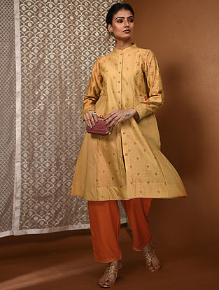 Yellow-Orange Khari Block-Printed Chanderi Kurta with Pockets