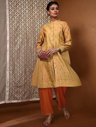 Yellow-Orange Khari Block-Printed Chanderi Kurta with Pockets