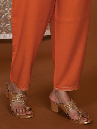 Orange Tie-Up Waist Modal Pants