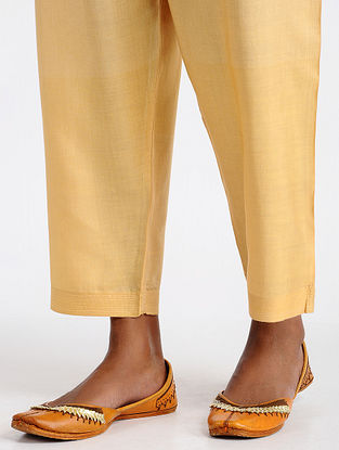 Beige Tie-up Waist Cotton Silk Pants