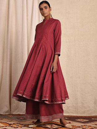 Red Cotton Kalidar Kurta with Gota