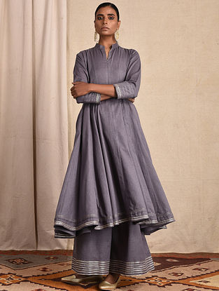 Purple Cotton Kalidar Kurta with Gota